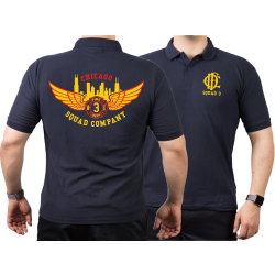 CHICAGO FIRE Dept. Squad 3 Eagle Wings Skyline, navy Polo XL