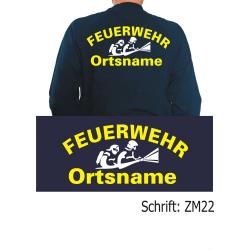 """Sweat Schrift """"ZM22"""" mit Ortsnamen in neongelb..."""