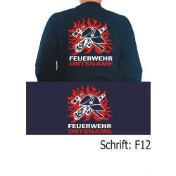 """Sweat Schrift """"F12"""" DDR-FW-Helm in Flammen mit..."""