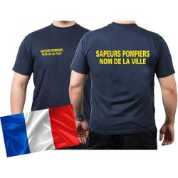 T-Shirt navy, Sapeurs Pompiers avec nom de la ville...
