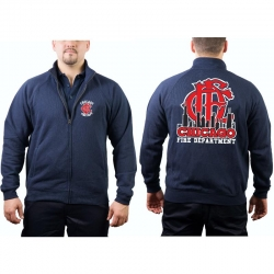 CHICAGO FIRE Dept. Sweat jacket navy, Skyline/Emblem...