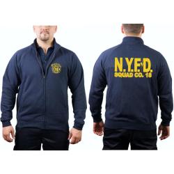 Chaqueta de sudor azul marino, NYFD Squad Company 18 -...