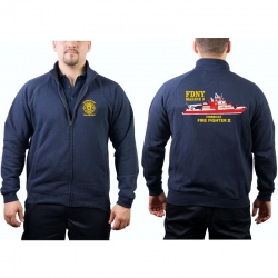 Sweat jacket navy, New York City Fire Dept. Marine 9...