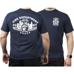 T-Shirt azul marino, New York City Fire Dept.150 years...