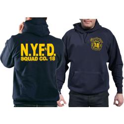 Hoodie blu navy, New York City Fire Dept. SQUAD 18 Manhattan