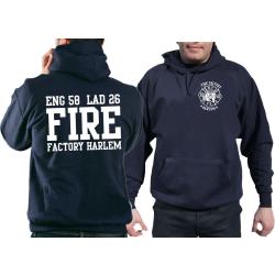 "Hoodie navy, ""Fire Factory Harlem"" E-58/L-26"