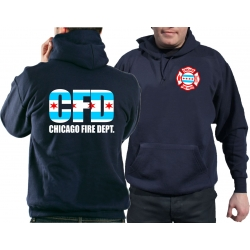 CHICAGO FIRE Dept. City flag, navy Hoodie