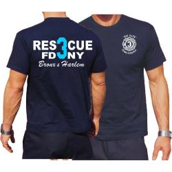 T-Shirt navy, Rescue3 (blue) Bronx & Harlem