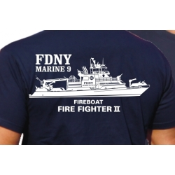 "T-Shirt navy, FDNY, Marine 9 ""Firefighter II""..."