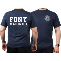 T-Shirt navy, New York City Fire Dept. Marine 1 (white)