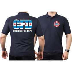 CHICAGO FIRE Dept. City flag, navy Polo