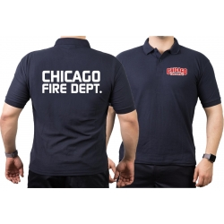 CHICAGO FIRE Dept. Polo navy, with moderner font