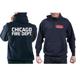 CHICAGO FIRE Dept. Hoodie azul marino, con moderner fuente