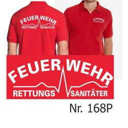 """Polo red, """"Feuerwehr Rettungssanitäter"""" white"""