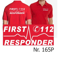 """Polo red, """"First Responder"""" white font"""