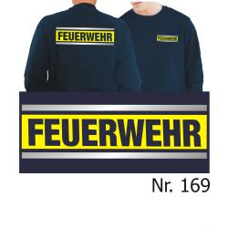 Sweat navy, FEUERWEHR silber/neongelb/silber