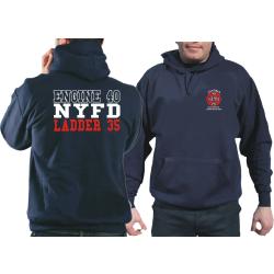 Hoodie navy, New York City Fire Dept. E-40/L-35 Caveman