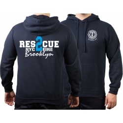 Hoodie navy, New York City Fire Dept. Rescue2 (blue)...