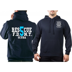 Hoodie navy, New York City Fire Dept. Rescue5 (blue)...