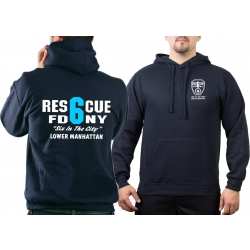 Hoodie navy, New York City Fire Dept. Rescue6 (blue)...