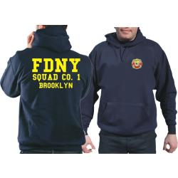 Hoodie blu navy, New York City Fire Dept. Squad Co. 1...