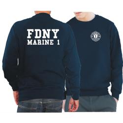 Sweat azul marino, FDNY, Marine 1, Manhattan, (blanco...