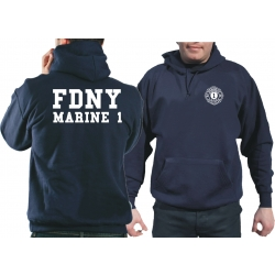 Hoodie azul marino, New York City Fire Dept., Marine 1,...