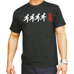 T-Shirt nero, Feuerwehrmänner laufen zur Flamme...