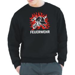 Sweat black, Brustmotiv: DDR-Helm in Flammen...