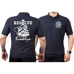 Poloshirt navy, RESCUE 2 Brooklyn, bulldog 3XL