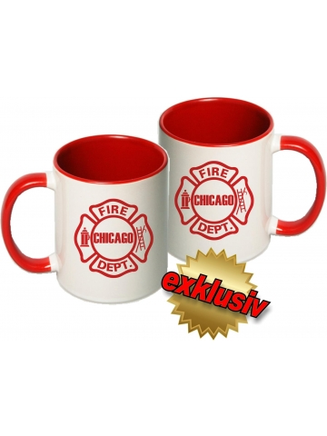 Tasse: Chicago Fire Dept. Emblem, two-tone-coffee-cup, red (1 Stück)
