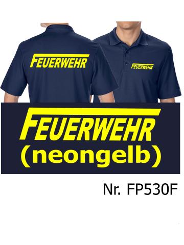 """FEUERWEHR mit langem /""""F/"""" neongelb T-Shirt navy"""