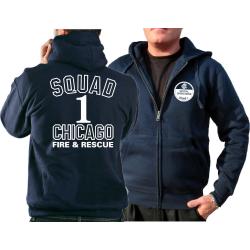 CHICAGO FIRE Dept. Hooded jacket navy, Squad 1, white font