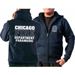 CHICAGO FIRE Dept. Hooded jacket navy, PARAMEDIC, white font