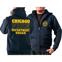 CHICAGO FIRE Dept. Hooded jacket navy, SQUAD Company yellow