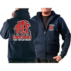 CHICAGO FIRE Dept. Hooded jacket navy, Skyline/Emblem...