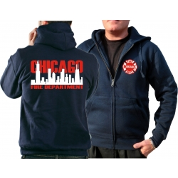 CHICAGO FIRE Dept. Hooded jacket navy, with zweifarbiger...
