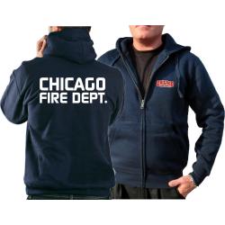 CHICAGO FIRE Dept. Hooded jacket navy, with moderner font