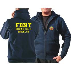 Chaqueta con capucha azul marino, FDNY Squad Co. 1 Brooklyn