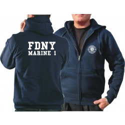 Hooded jacket navy, FDNY Marine 1 - Manhattan, (whitee font)