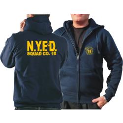Chaqueta con capucha azul marino, NYFD Squad 18 Manhattan