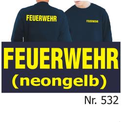 Sweat navy, FEUERWEHR in neongelb (XS-3XL)
