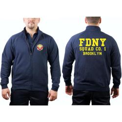 Chaqueta de sudor azul marino, FDNY Squad Co. 1 Brooklyn