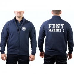 Sweat jacket navy, FDNY Marine 1 - Manhattan, (whitee font)