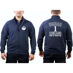 CHICAGO FIRE Dept. Sweat jacket navy, Squad 1, white font