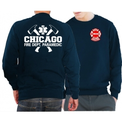 CHICAGO FIRE Dept. axes and flames Paramedic, blu navy Sweat