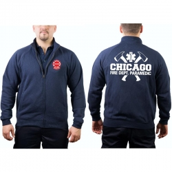 CHICAGO FIRE Dept. Sweat jacket navy, with axes, Paramedic