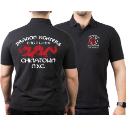 Poloshirt black, DRAGON FIGHTERS Chainatown, NYC Eng-9...