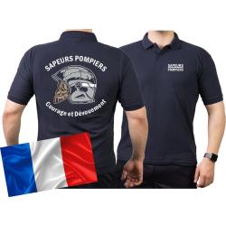 Polo (blu navy/bleu marine) Sapeurs Pompiers Casque -...