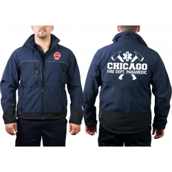CHICAGO FIRE Dept. WorkSoftshelljacket navy, with axes,...